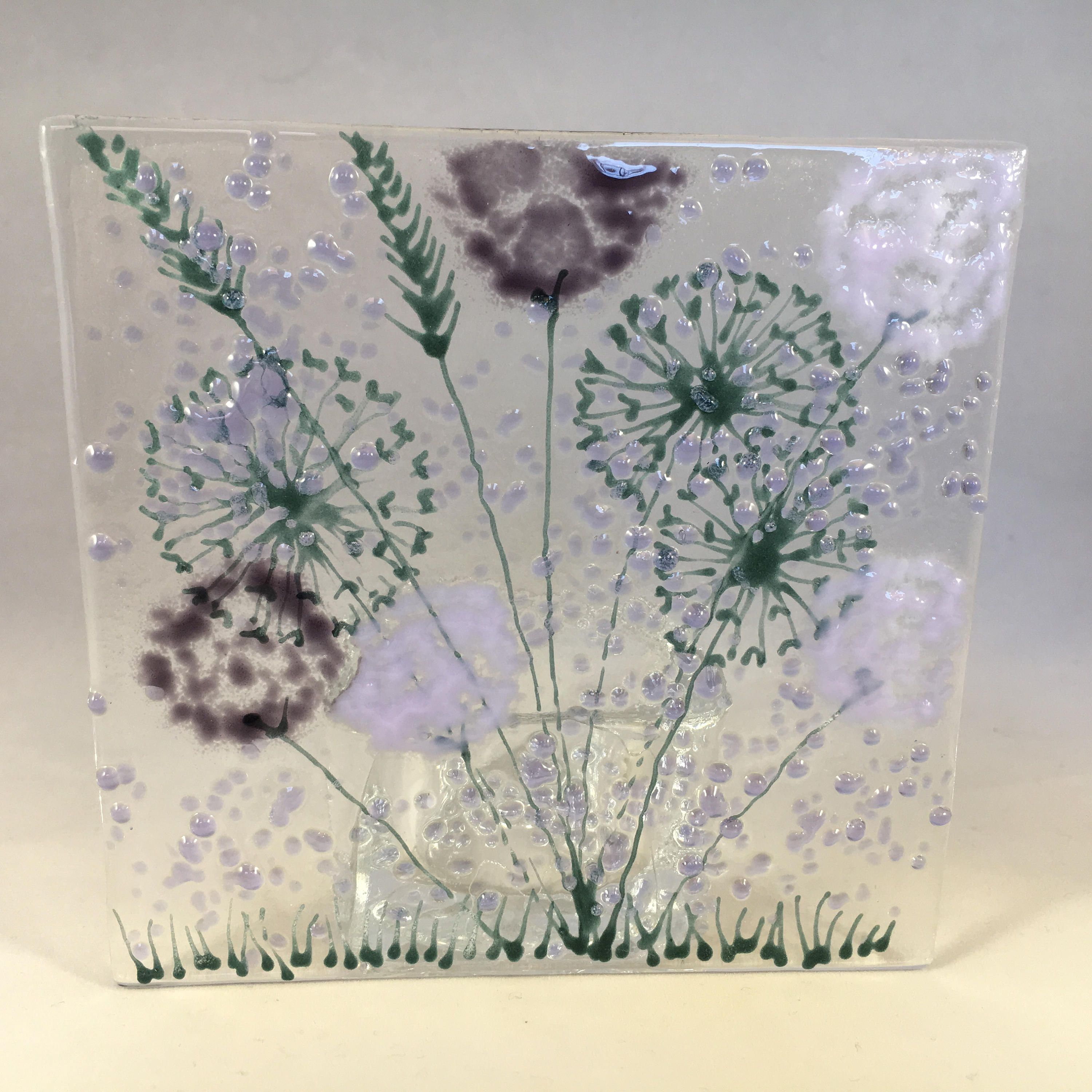 Floral Glass Plaque Candle Display Purple And Lilac Flowers