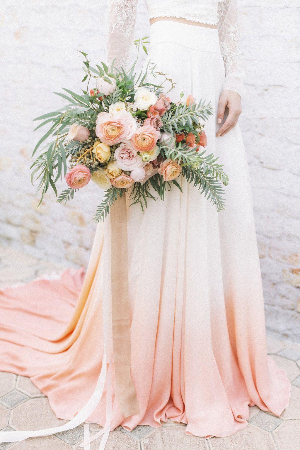 House Of Moirai Dip Dye Skirt And Lace Top Bride Bohemian