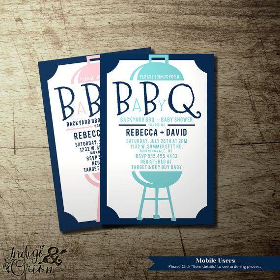 modern co-ed bbq baby shower invitation, couples babyq | available, Baby shower invitations