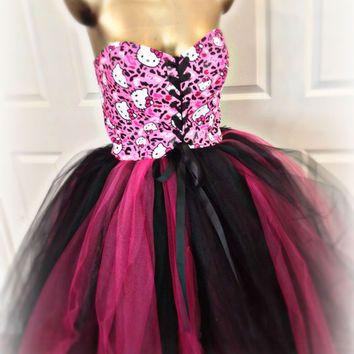 Adult tutu, Hello Kitty tutu dress, Sweet 16 Hello Kitty birthday, pink black hello kitty, adult hello kitty tutu