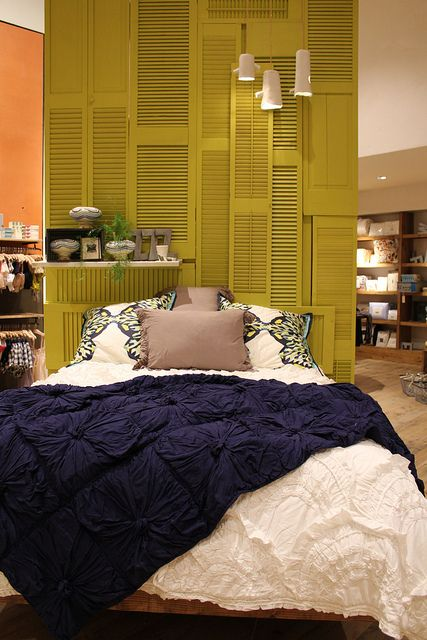 love the shutter headboard!