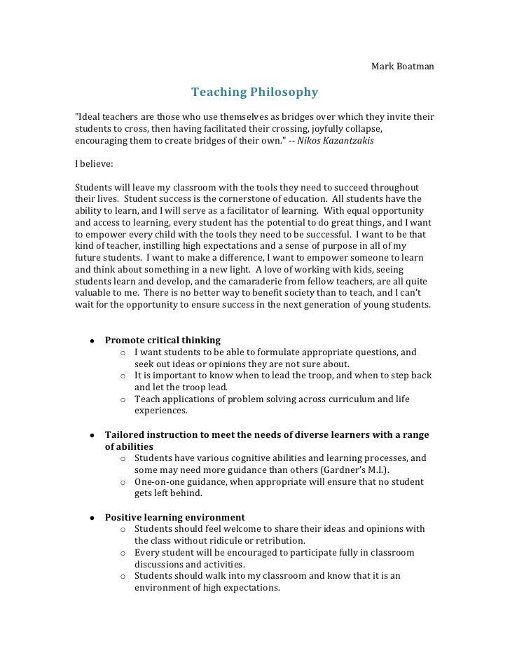 Mark Boatman Teaching Philosophy Ideal Teachers Are T Teaching Philosophy Statement Teaching Philosophy Teacher Philosophy Statement