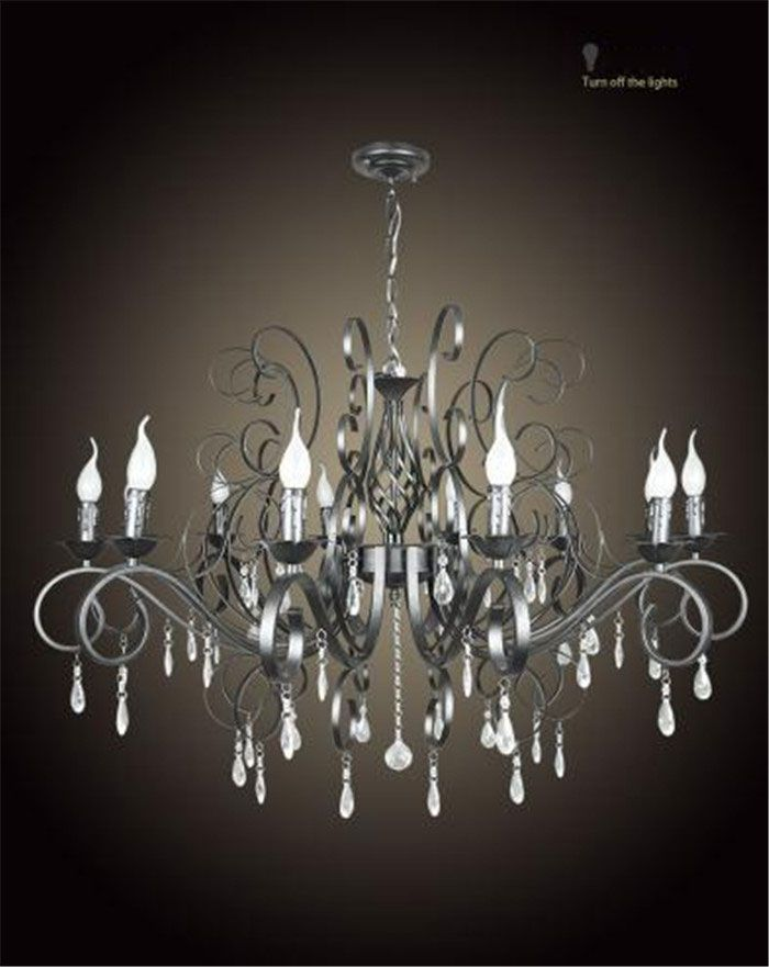 Large And Luxury Black Industrial Wrought Iron Chandelier E14
