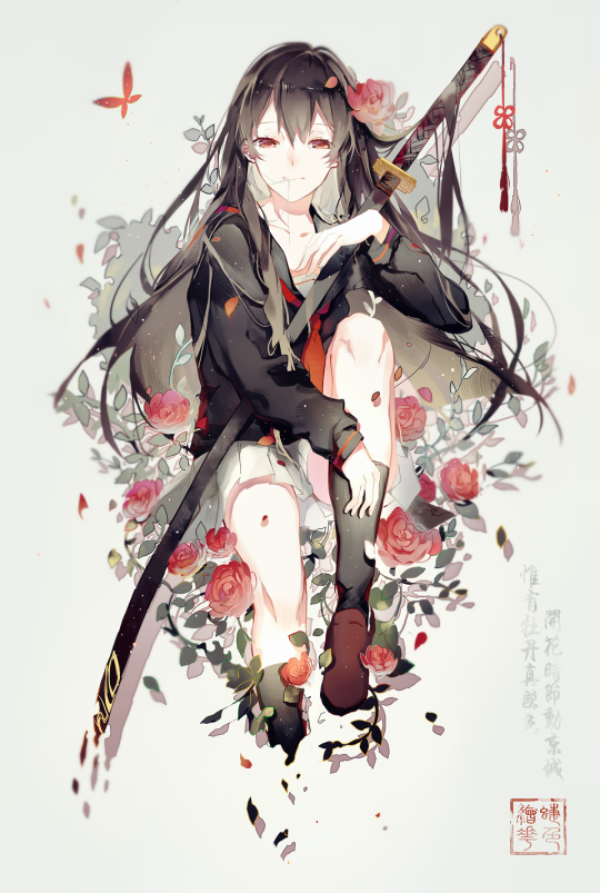 Beautiful anime girl with red roses and weapon anime e - Anime girl with weapon ...