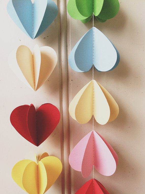 Rainbow Heart Strings 3d Paper Mobile By Maisyandalice On Etsy