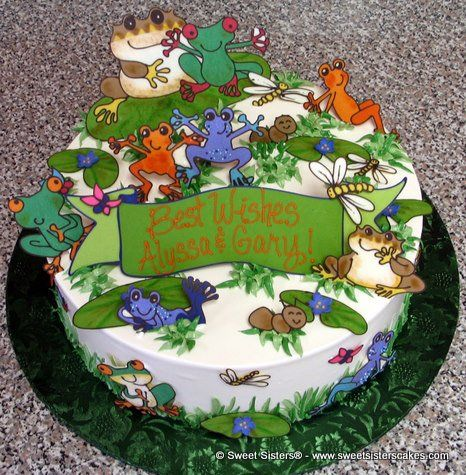 Best wishes for the happy couple! #desserts #cake #bestwishes #frogs #green #happycouple #SweetSisters