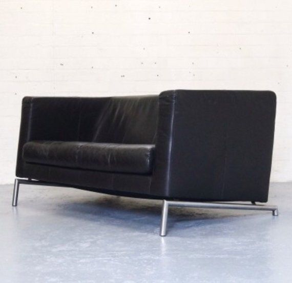 Apartment size Black leather sofa from dutch manufacturer ...