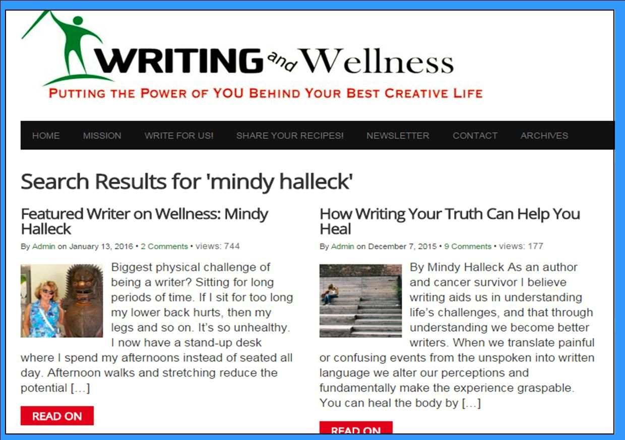 Featured Author on Writing and Wellness Magazine   Write to