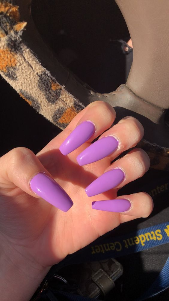 70 Attractive Acrylic Coffin Nails To Try This Fall Koees Blog Acrylic Nails Coffin Glitter Purple Nails Summer Acrylic Nails