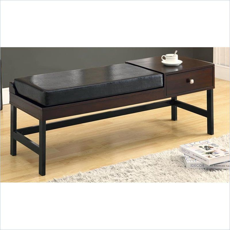 Monarch Solid Wood 48 Quot Bench In Dark Brown Faux Leather