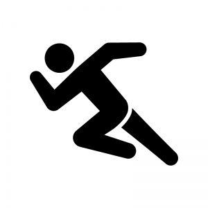 ダッシュで走っている人の白黒シルエットイラスト 素材2019