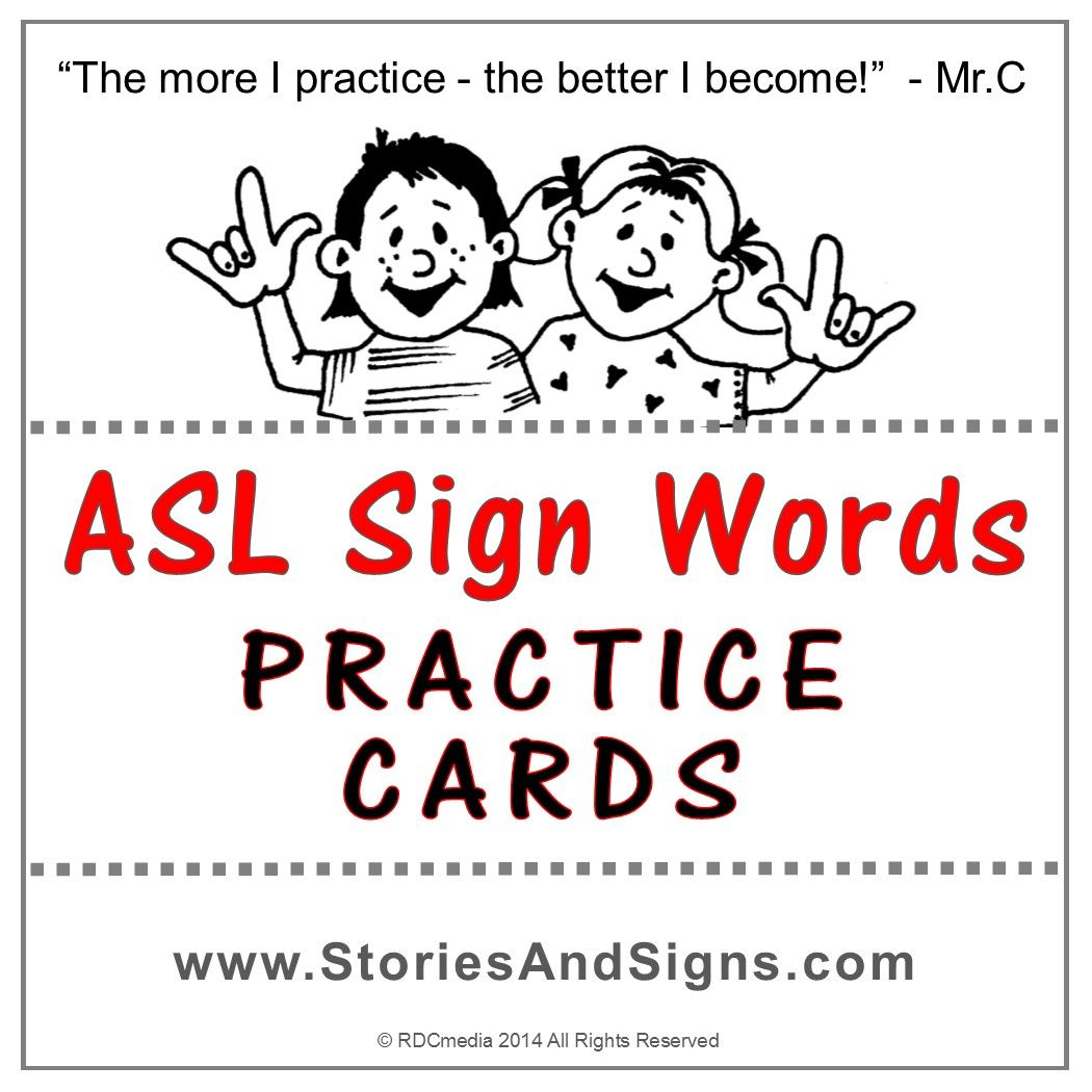 Asl Sign Words Practice Cards