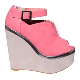 View Item Coral Contrast Cut Out Buckle Wedge Shoe  £40.99