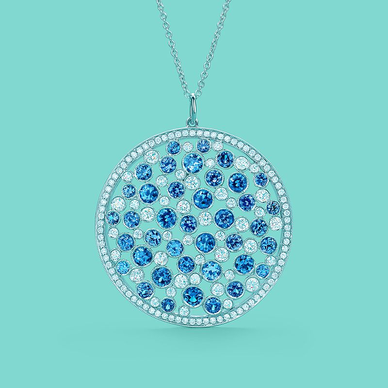 Tiffany Cobblestone medallion pendant in platinum with Montana sapphires and diamonds. #TiffanyPinterest