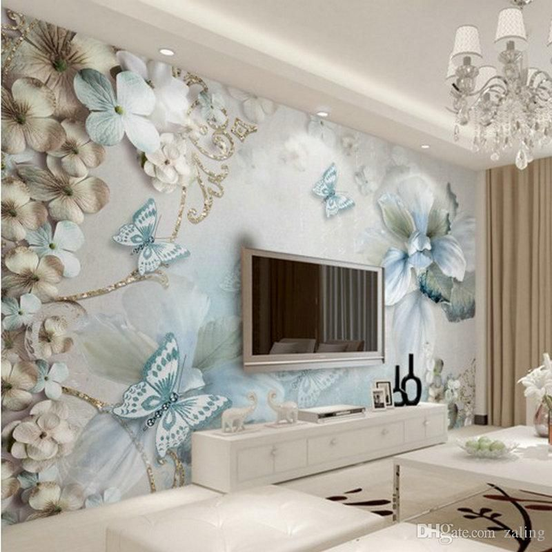 Custom 3d Photo Wallpaper 3d Stereo Beauty Of The Sea Flowers Butterfly Jewelry Mural Cust Wallpaper House Design Wallpaper Living Room Wallpaper Walls Bedroom