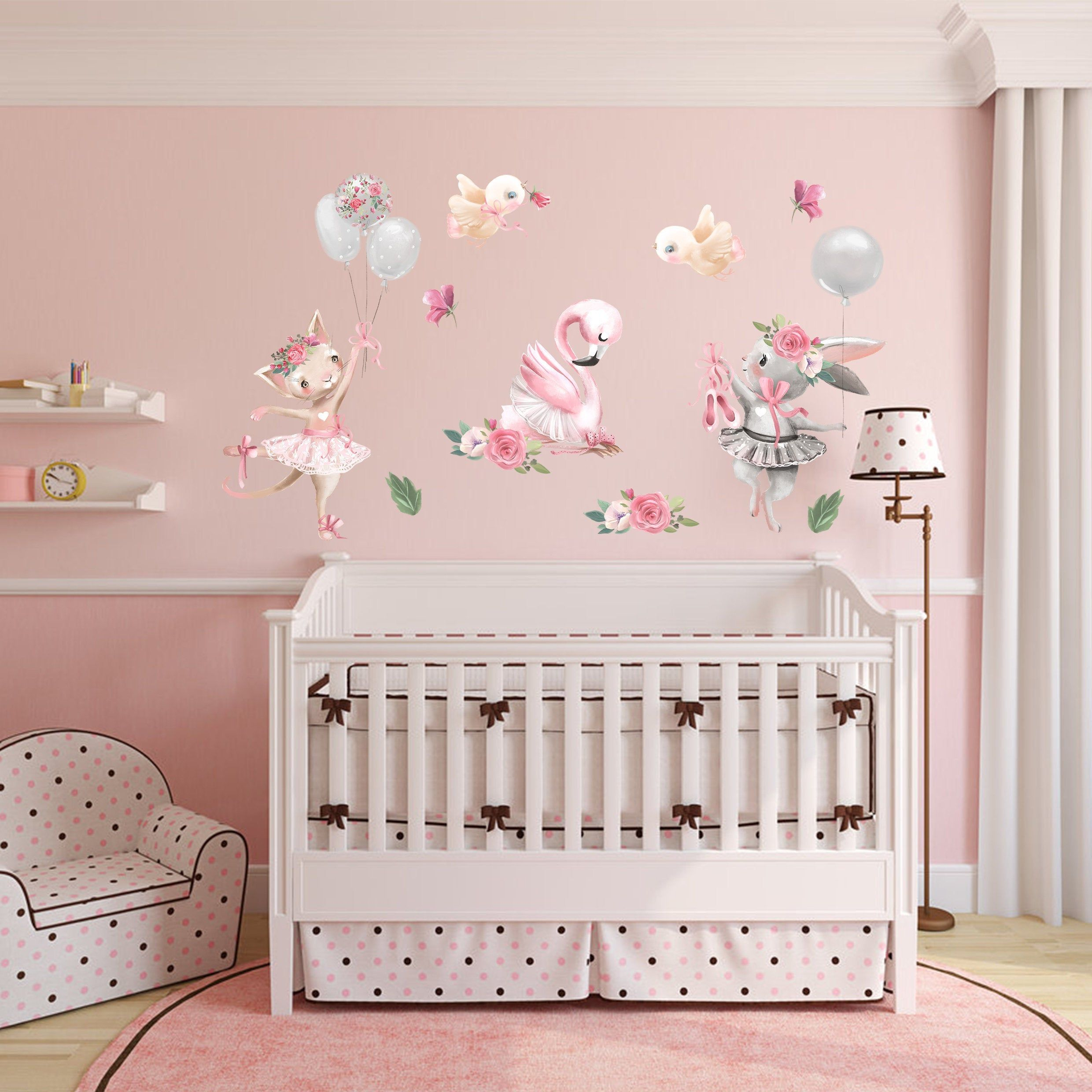 Removable Flamingo Wallpaper Baby Girl Wall Decal by
