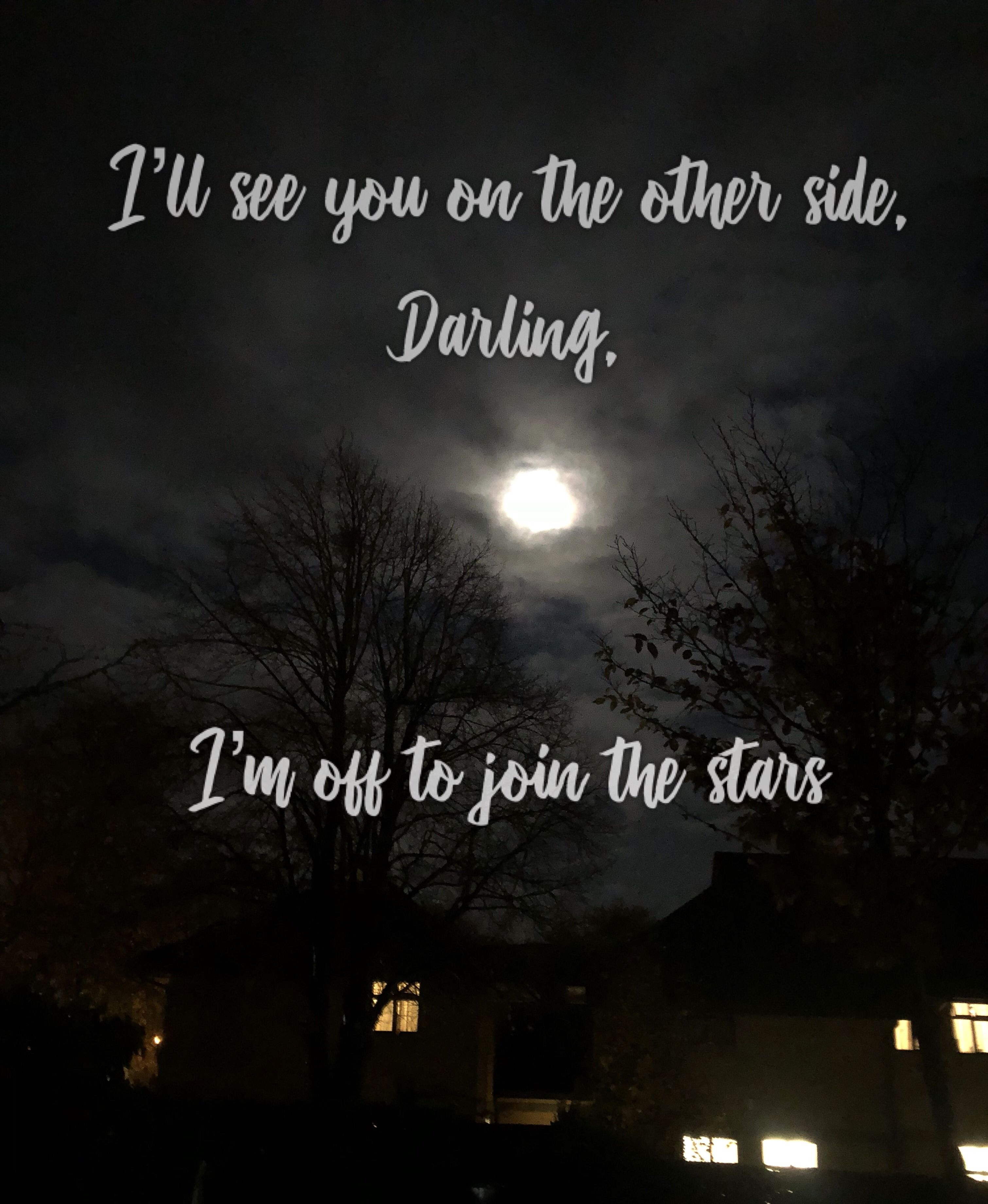 I Ll See You On The Other Side Darling I M Off To Join The Stars Siding Quote The Other Side Star Quotes