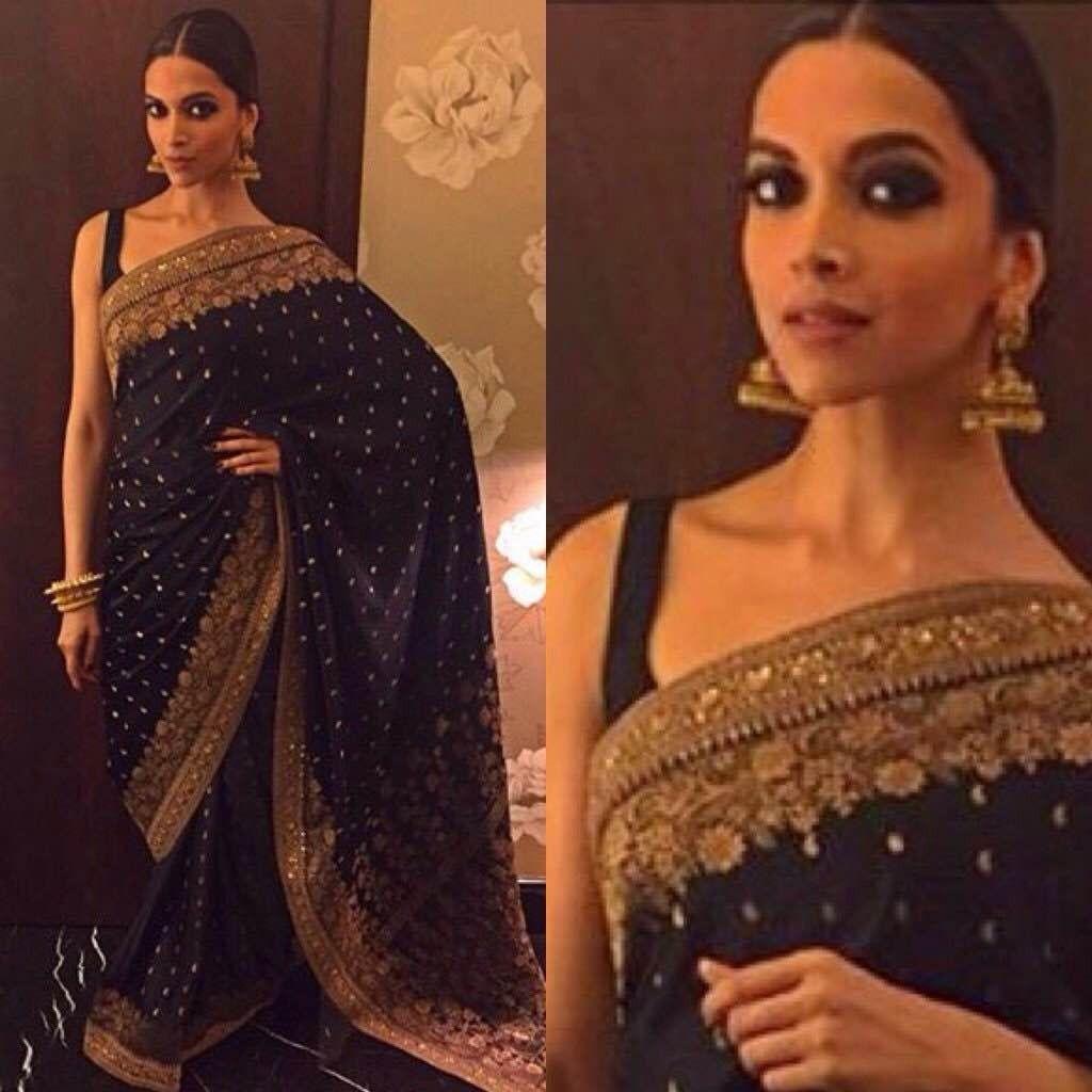 Deepika Padukone In Black Saree Banarasi Saree Wedding Saree Indian Saree Designer Saree Buy Shop Saree Online Saree Sneha Saree Bollywood Saree