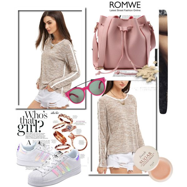 Romwe Gray Shirt by oribeauty-cosmeticos on Polyvore featuring moda, adidas Originals, Givenchy, Fresh and Jagger