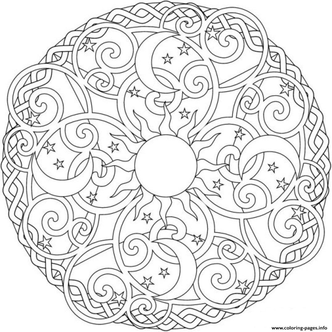 Print Sun Moon And Stars Mandala S2ada Coloring Pages Moon