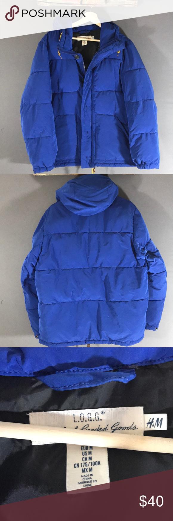 H&M men's puffer jacket with hood full zip Blue puffer