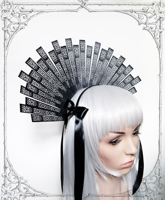 "Headdress ""Estrella"" ( Fascinator, Goth, Baroque, Renaissance, Black, Headpiece ) by BlackUnicornShop on Etsy https://www.etsy.com/listing/211380227/headdress-estrella-fascinator-goth"