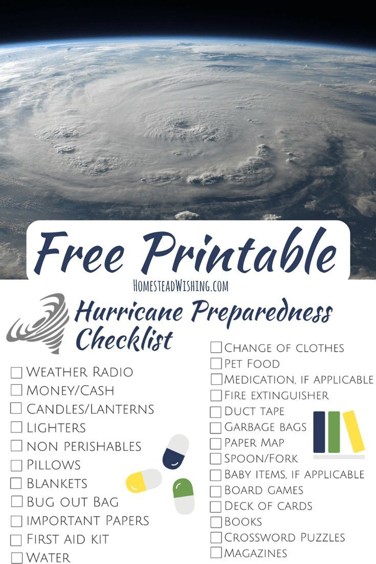 Hurricane Preparedness Checklist - Free Printable Checklist #hurricanefoodideas