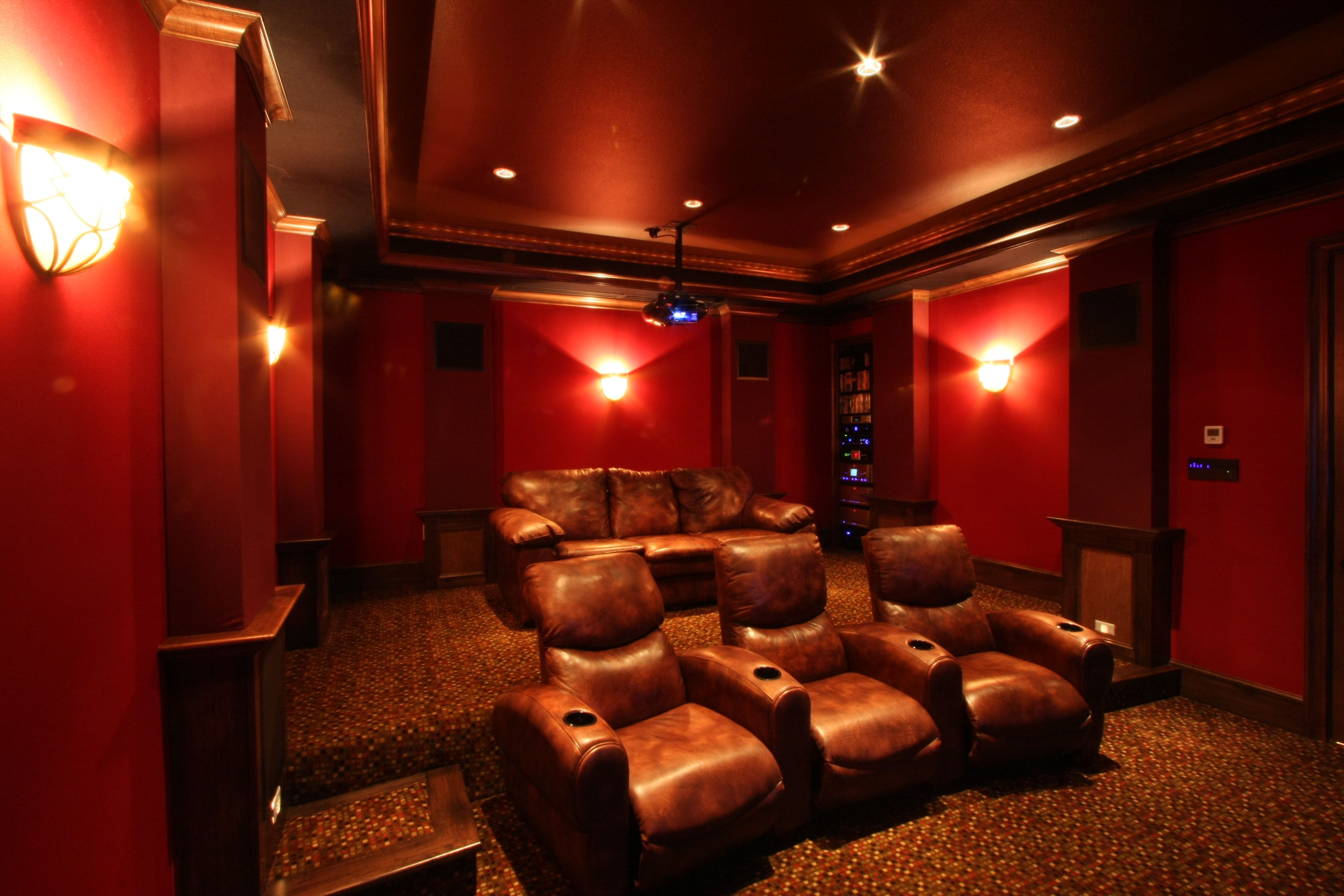 New Media Room Mahogany Millwork Columns And Crown Moldings Fantastic Audio Video Equipment And The Best In Acoustic Technolog Media Room Audio Room Millwork