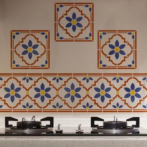 Stencil Tile Backsplash Part - 32: Taj Tile Wall Art Indian Furniture Stencil