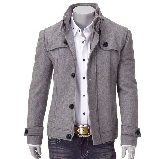Men's Woolen Jacket with Removable Fur Collar | Group Repins ...
