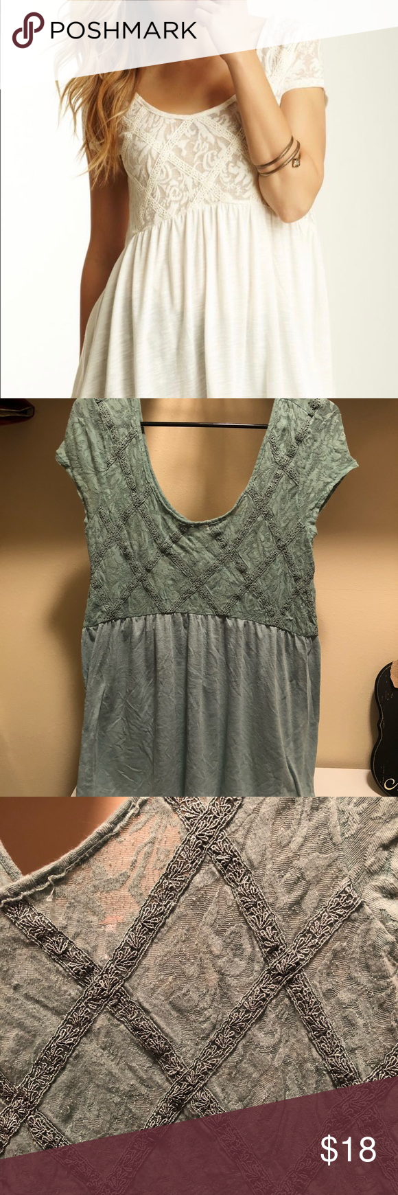 d4ea228878f939 Free People Extreme Babydoll Top- seafoam Washed a few times- we ll taken  care of. Such a cute top on! Size large. Free People Tops Blouses