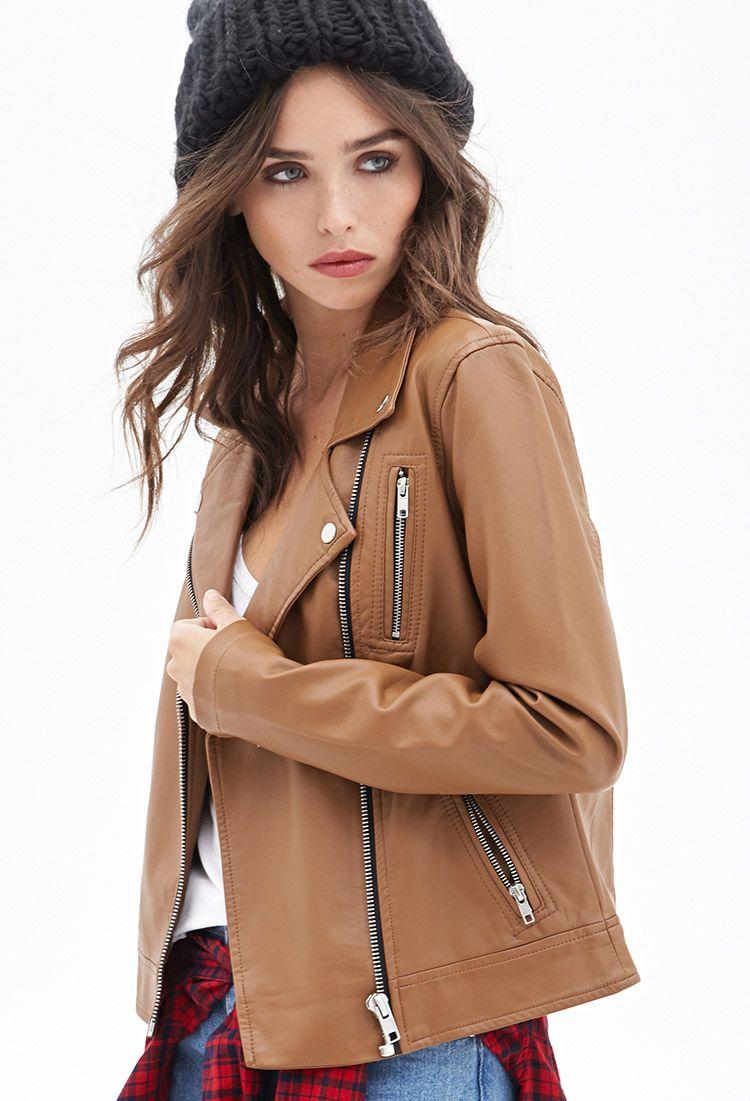 Zippered Faux Leather Moto Jacket | FOREVER21  #dotshopsave
