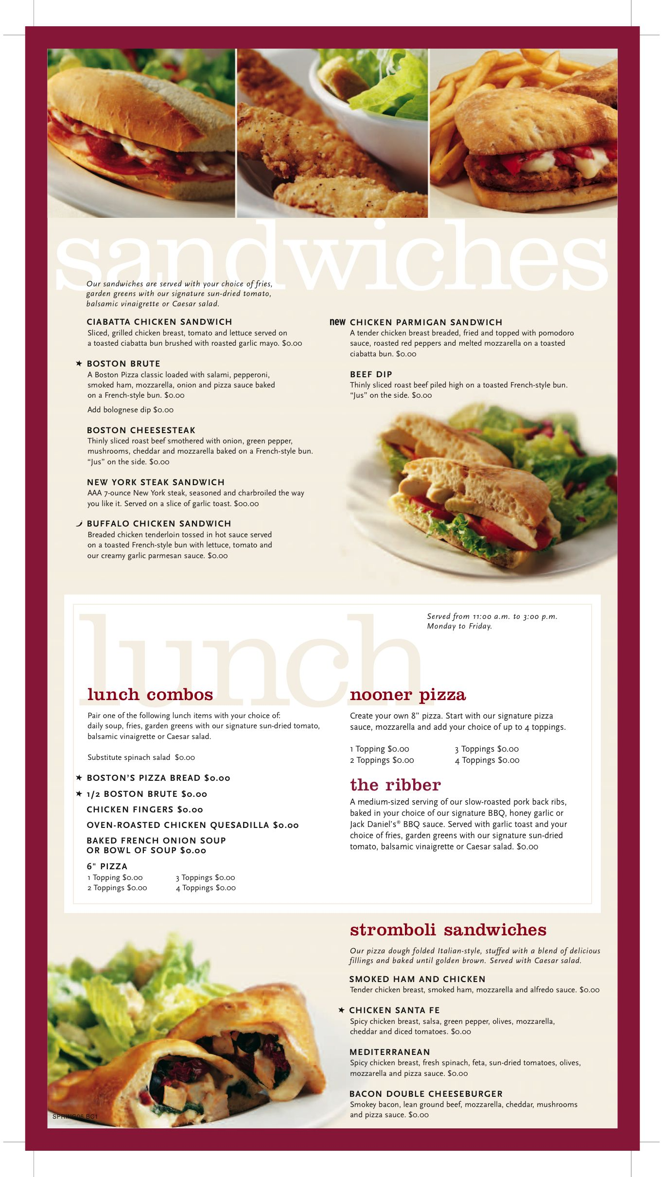 Boston Pizza Menu Sample Sandwiches Hangar 18 | Nume | Pinterest ...