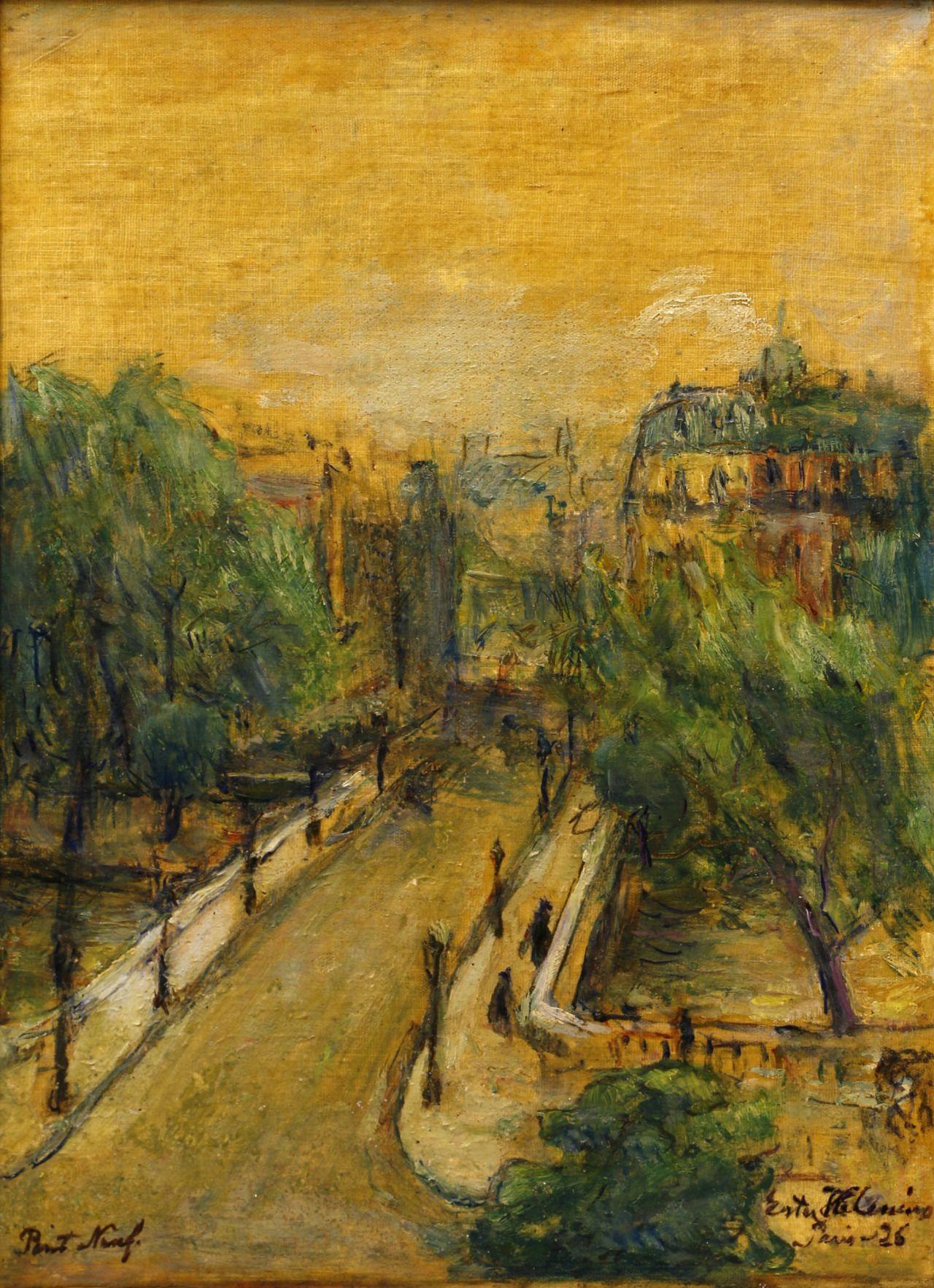 Pont Neuf, Paris - Ester Helenius , 1926 Finnish, 1875-1955 oil on canvas 37 x 27 cm. Hämeenlinna Art Museum.