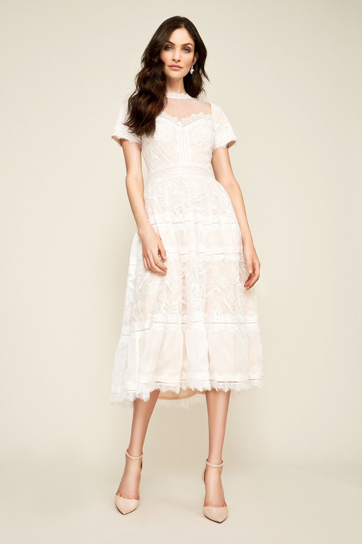 Camilla tealength dress tadashi shoji lace tea length