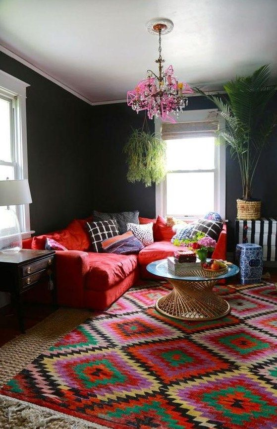 See these 11 functional and fabulous white living room decorating ideas from top designers. Beautiful Images of Bohemian Interior Design   Red sofa ...