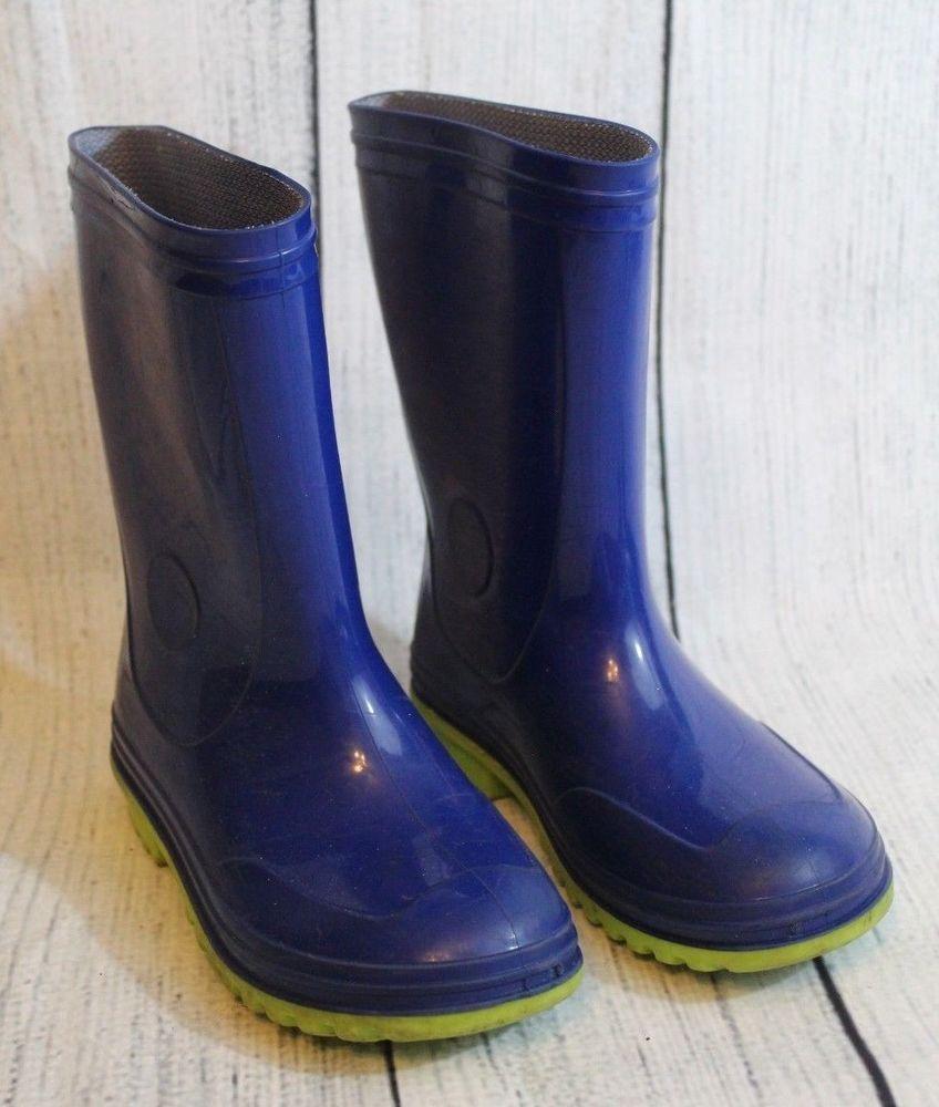 3fc61bc668 Boys Waterproof Rubber Rain Boots Size 12 Kids Slip On Blue Green ...