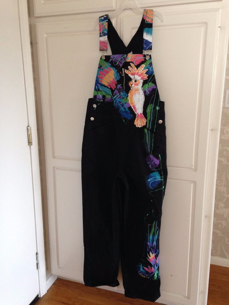 Black Denim Bib Overalls Hand Painted Sarah Original Womens Small Birds Flowers | eBay