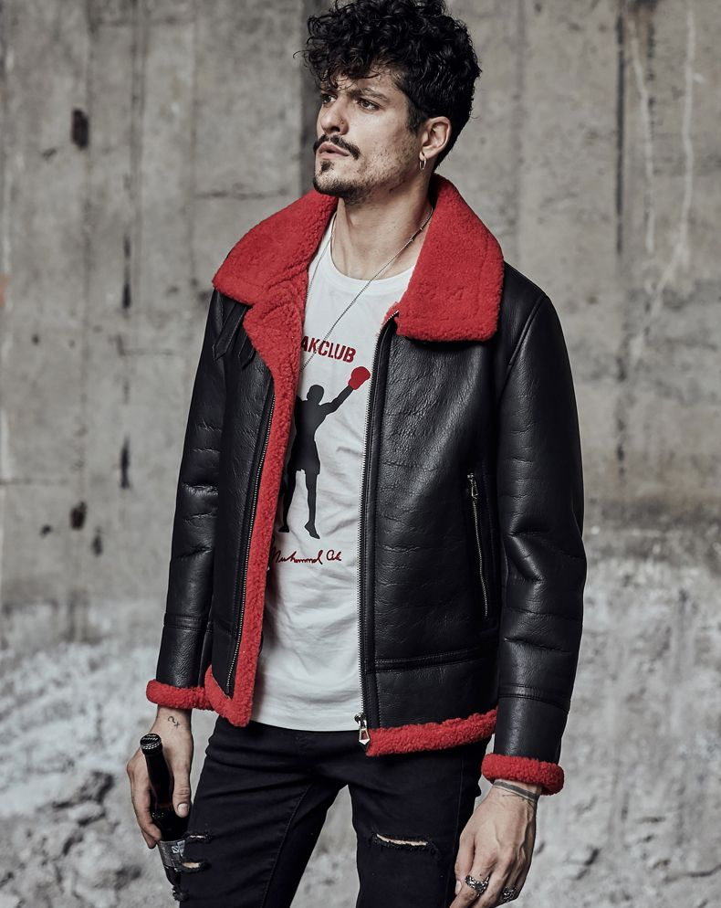 414ba6ccbba Men s Shearling Jacket Men s Fur Coat Pilots Coat Black Flying Jacket B3  Sheepskin Jacket Red Collar Lining