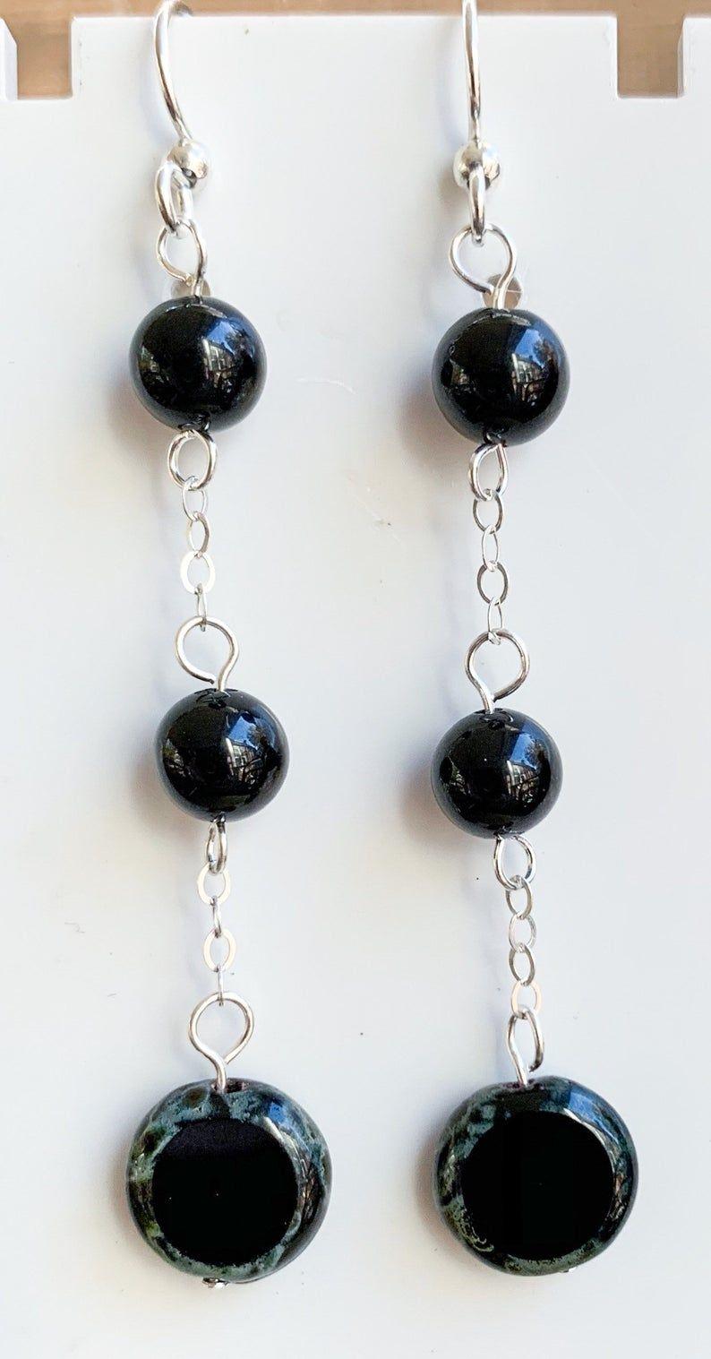 Gemstone silver earrings long earrings onyx boho statement black dangling