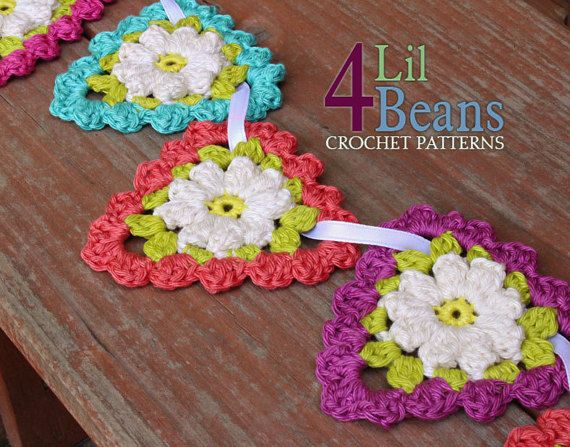 Crochet Pattern Crochet Flower Triangle Garland Crochet Flower Applique Crochet Birthday Banner H Flower Applique Patterns Crochet Patterns Crochet Garland