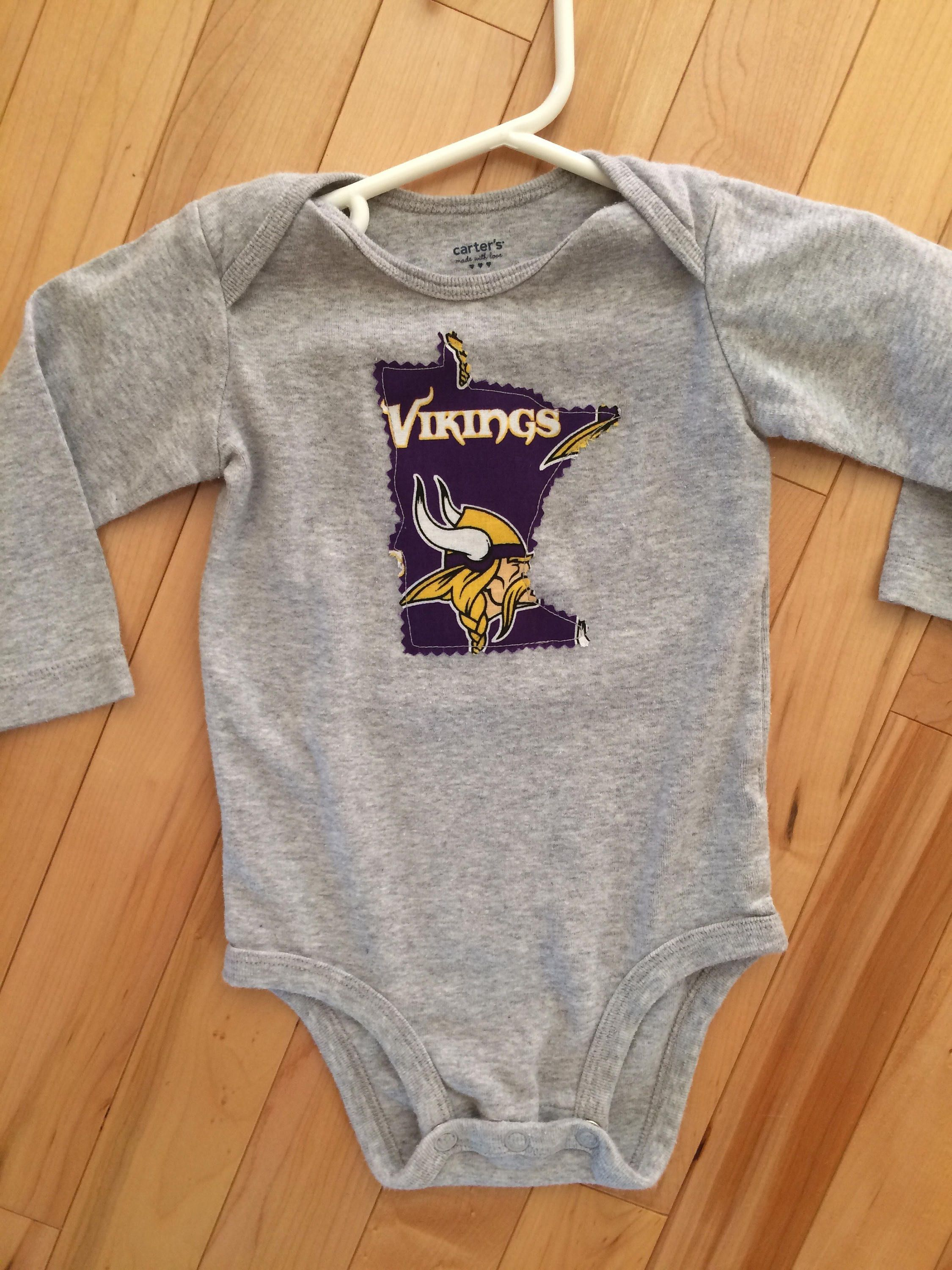 ff3e12154 Minnesota Vikings Baby Onesie ~ Size 9 Months ~ UPcycled ~ Carter's ~ Skol  Vikings ~ Perfect Gift for Baby Vikings Fan ~ by ArtThatCooks on Etsy