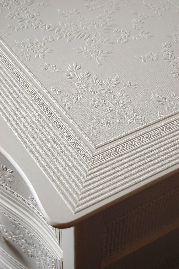 Wonderful Distressed Cottage Embossed By Daniscustomdesigns Paint Over Wallpaper To Add Detail Top And Drawers