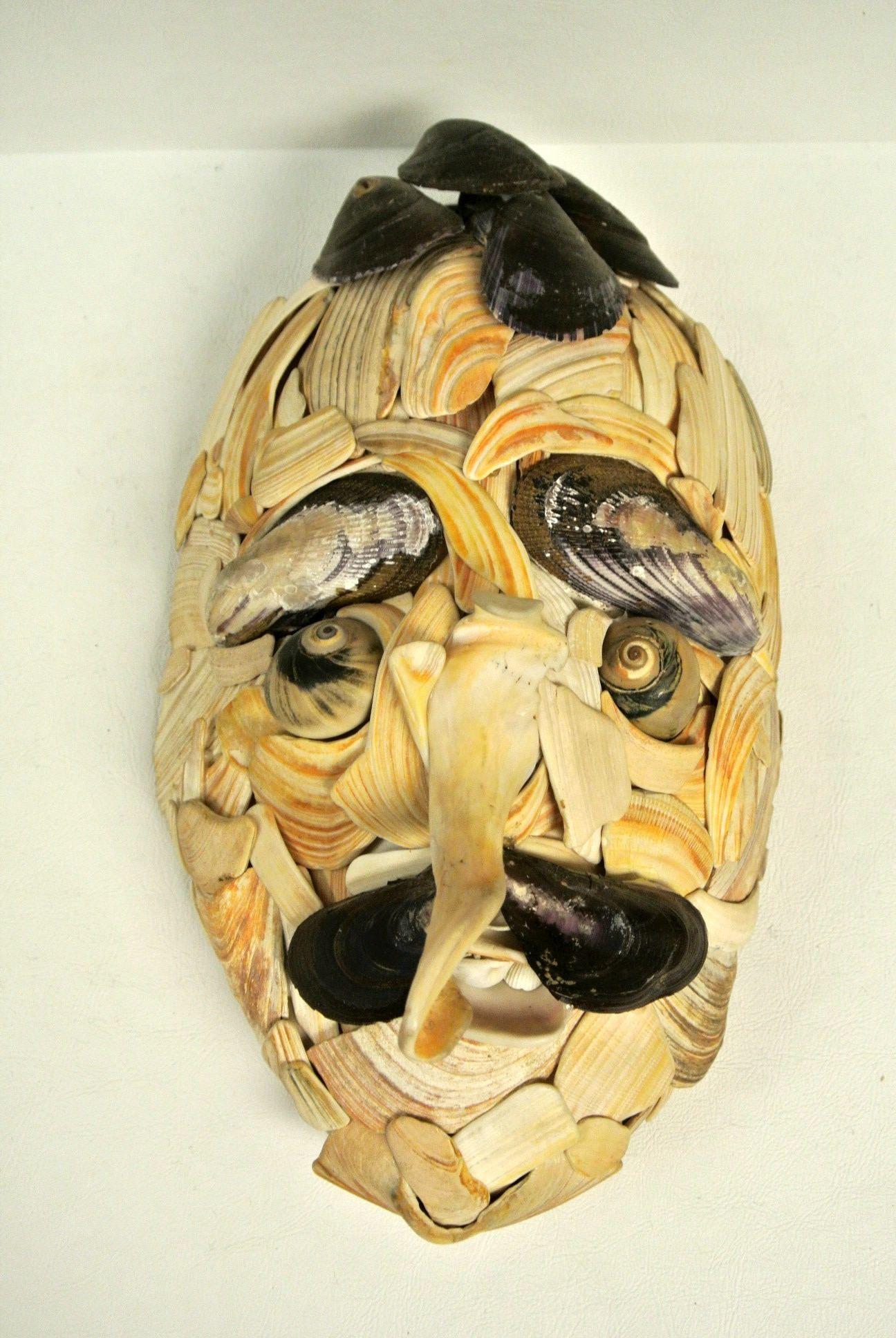 Vintage 1960s Handmade Seashell Face Wall Art Shell Sculpture Mask ...