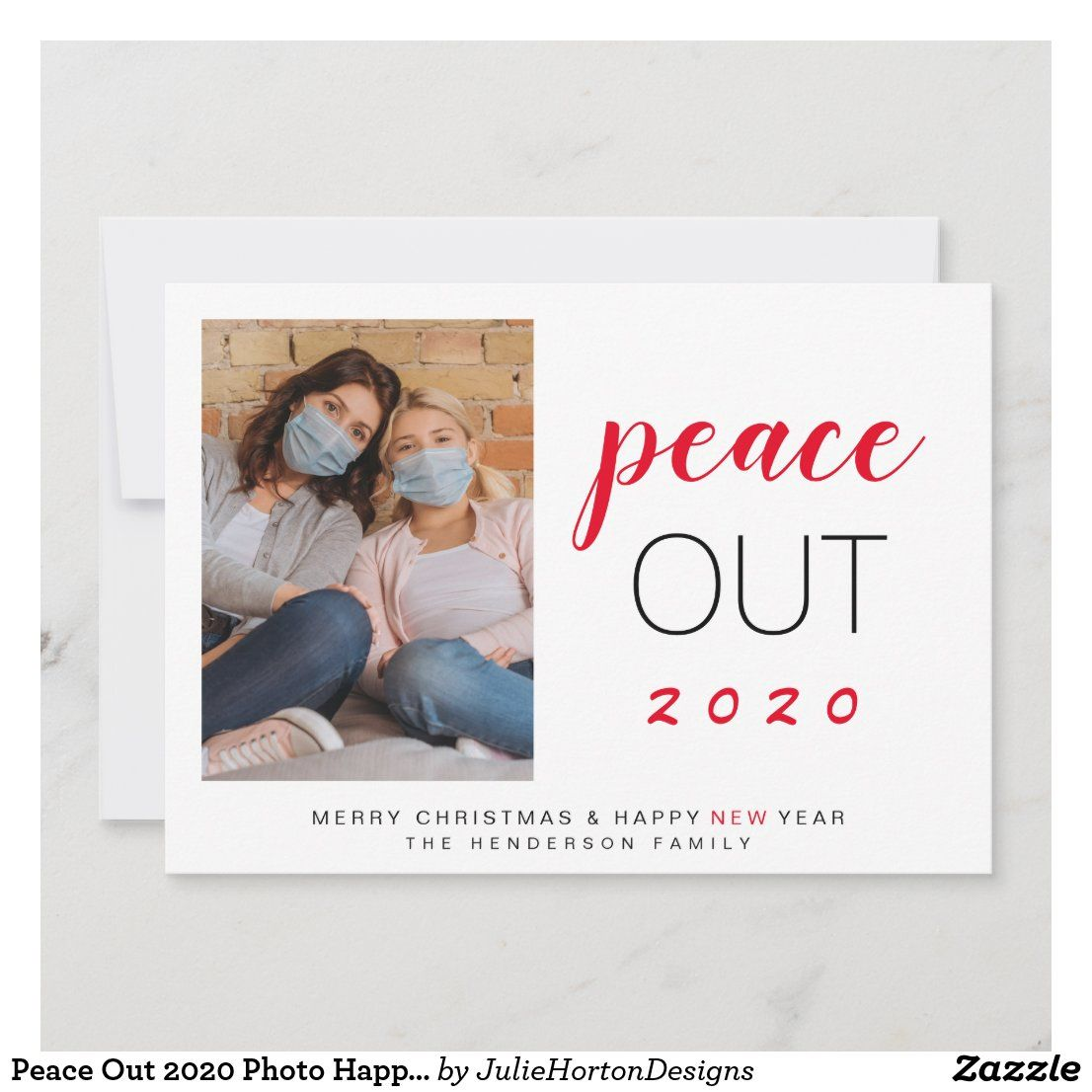 Peace Out 2020 Photo Happy New Year Christmas Holiday Card Zazzle Com In 2021 Family Holiday Cards Christmas Holiday Cards Family Christmas Card Photos