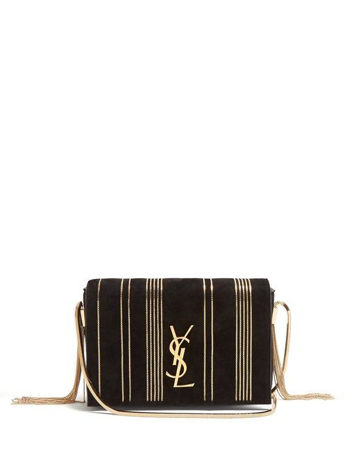 6e4a956f Yves Saint Laurent Kate small chain-embellished suede cross-body bag ...