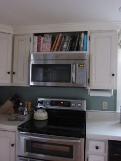 Maybe Our Microwave Could Be Done Like This Above The Stove Remove All Of The Existing Cabinet Above Kitchen Upgrades Cookbook Storage Kitchen Renovation