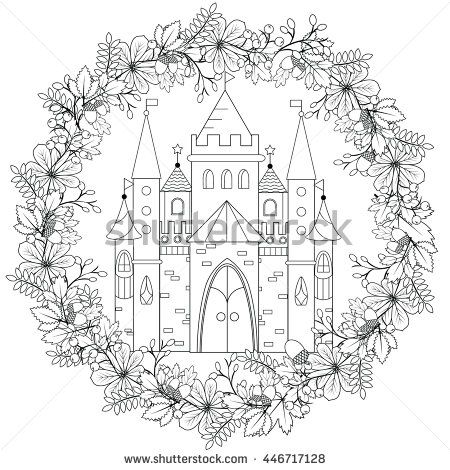 Relaxing Coloring Page With Fairy Castle In Forest Wreath For Kids And Adult Art Therapy