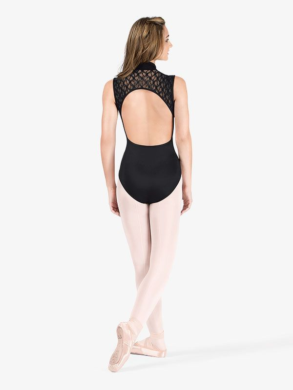 bfb94e5f3b20 Womens Zip Front Compression Tank Leotard with Lace Back in 2019 ...