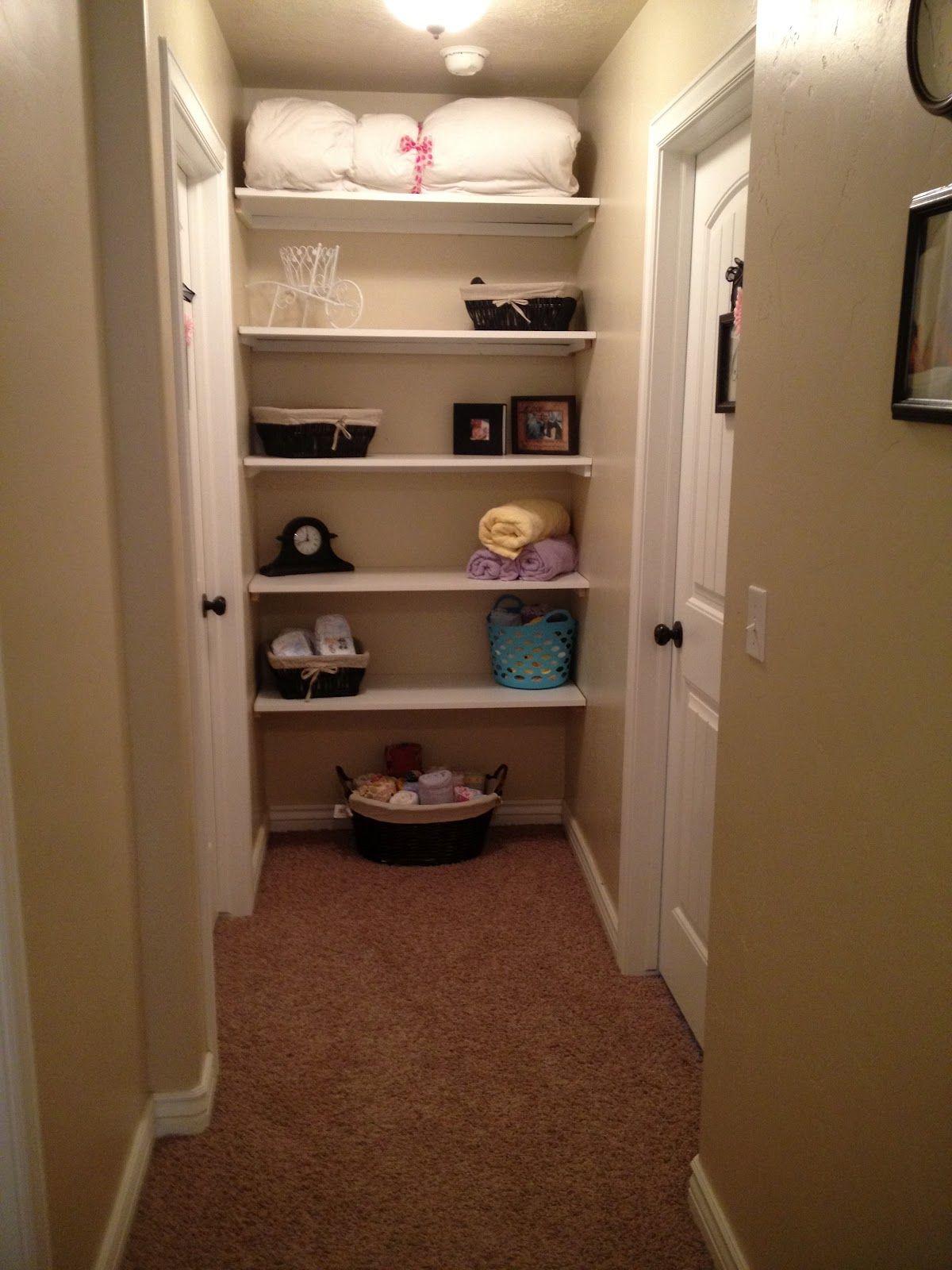 Stuff By Us Built In Shelves Open Linen Closet Tutorial Small Bathroom IdeasSmall BathroomsHallway